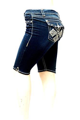(LA Idol Premium Rhinestone Women's Missy Plus Size Blue Curvy Denim Jeans Bermuda Shorts 15 17 19 (19=41'', P3699BM-P Blue))