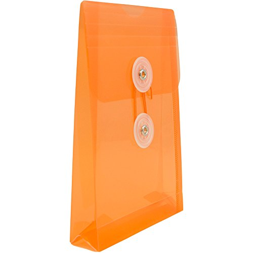 JAM PAPER Plastic Envelopes with Button & String Tie Closure - 4 1/4 x 6 1/4 - Orange - 12/Pack by JAM Paper (Image #2)