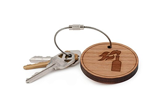 - Molotov Cocktail Keychain, Wood Twist Cable Keychain - Small