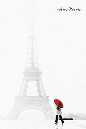 amazon co jp パリau revoirエッフェル塔写真ポスター印刷 24 x 36