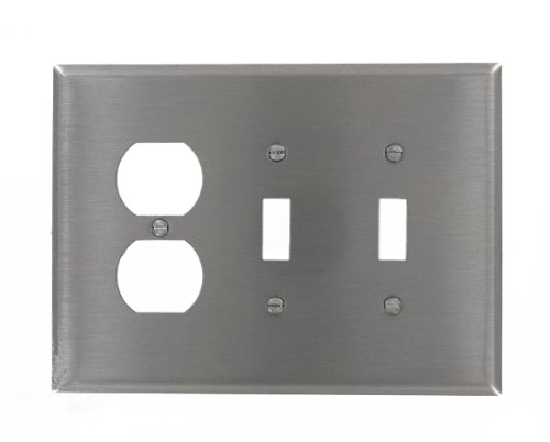 Leviton 84121-40 3-Gang 2-Toggle 1-Duplex Device Combination Wallplate, Oversized, Device Mount, Stainless Steel