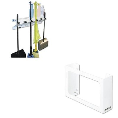 KITEXC3336WHT2SJMG0804 - Value Kit - San Jamar White Enamel Disposable Glove Dispenser (SJMG0804) and Ex-cell The Clincher Mop amp;amp; Broom Holder (EXC3336WHT2)