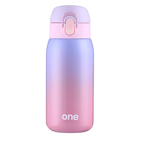 Mini Water Bottle for Kids& Adult, Vacuum Insulated Bottle, Travel Coffee Cup, Stainless Steel Thumbler, Ombre Bottle, Ombre - 320ml/ 11oz (Purple-Pink)