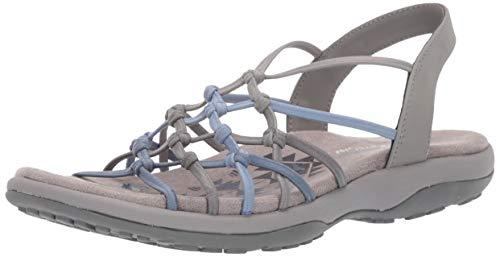 (Skechers Women's Reggae Slim-Forget Knotted Web Gore Open Toe Slingback Sandal, Grey/Blue, 6 M US)