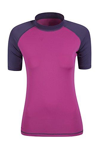 Mountain Warehouse Damen Rash Guard Kurzarm UV Schutz bequem Shirt Sport Urlaub Surf Wassersport Dunkellila DE 38 (EU 40)