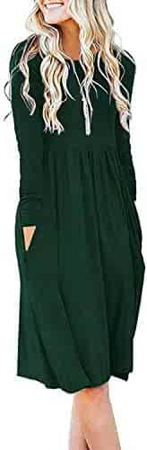 DB MOON Women Casual Long Sleeve Dresses Loose Plain Pleated Dress with Pockets