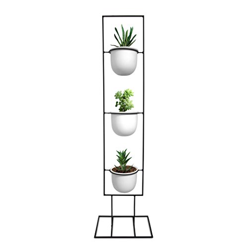 Bees Outdoor Art - Indoor Metal Vertical Plant Stand with 3 White Ceramic Pots | Iron Flower Pot Holder Rack | Outdoor Decor | Potted Steel Planter Garden Container Display | 23 Bees