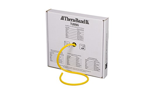 (TheraBand Professional Latex Resistance Tubing for Upper Body, Lower Body, and Core Exercise, Physical Therapy, Lower Pilates, at-Home Workouts, and Rehab, 25 Foot, Yellow, Thin, Beginner Level 2)