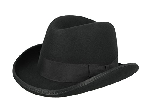 Godfather Fedora Hat Black (Medium: 22.75 in. / 58 (Mens 1930's Costumes)