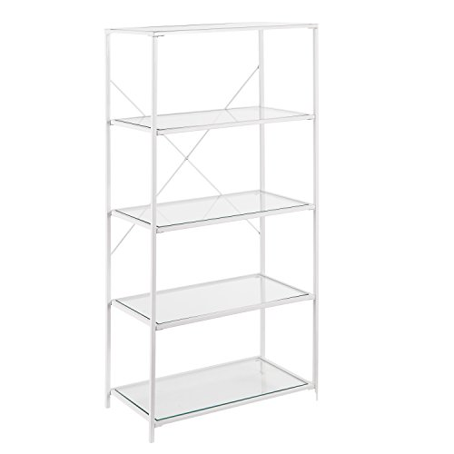 Furniture HotSpot Streamlined Metal Etagere - Tempered Glass - Space Saving (5 Tier)