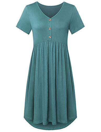 - FANSIC Womens Short Sleeve Floral Printed Pleated Swing Midi Dress with Pockets Light Cyan Large