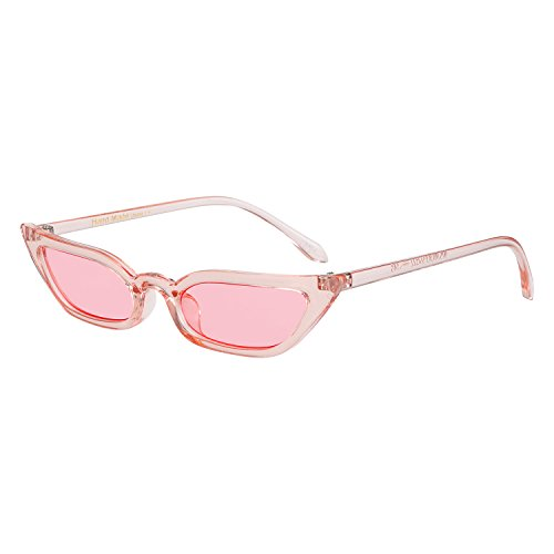 WOWSUN Vintage Sex Cat Eye Sunglasses Candy Color Clout Goggles for Women - Sunglasses Colored Pink