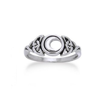 (Sterling Silver Celtic Trinity Knot and Crescent Moon Ring Size 9(Sizes)