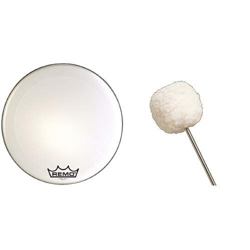 Remo Drum Set, Ultra White, 24-inch (PM2024-MP) with Vater VBVB Vintage Bomber Bass Drum Beater by Remo