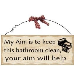 1 X 10'x4' Wooden Sign Decor - Bathroom Aim by - Sign Bathroom Decor