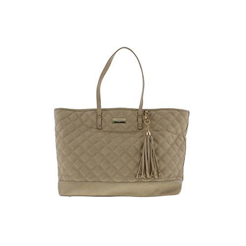BCBG Paris Womens Quilted Faux Leather Tote Handbag Tan Large (Cheap Designer Bags)