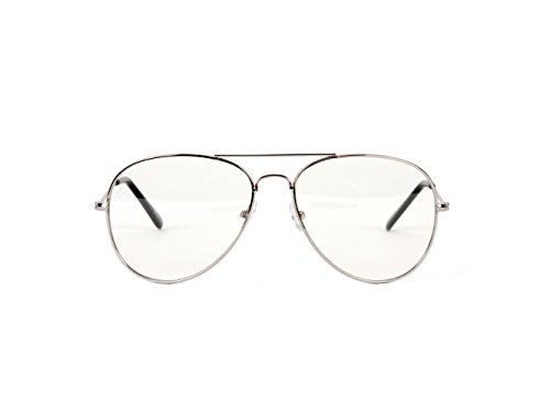 22399dc93ef83 Gravity Shades Silver Frame Clear Lens Aviator Sunglass w - Import It ...