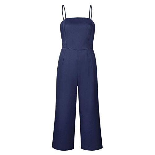 Moda Pierna la Rompers de Ancha Cintura Correa de sin Tirantes Alta Longwu de Mujeres Oscuro de Pantalones Azul Jumpsuit Espagueti xw4zqIPBC