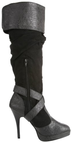 Microfiber Boot Black Distressed Knee Women's Carribean High Polyurethane Funtasma Pleaser by T04Z64v