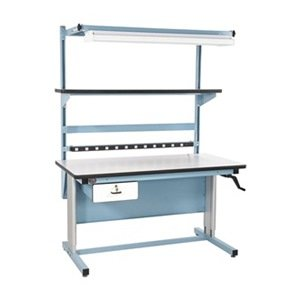 Height Workbench Adjustable Industrial (Pro-Line BIB18 Complete Two Post Height Adjustable Bench with Accessories, 72