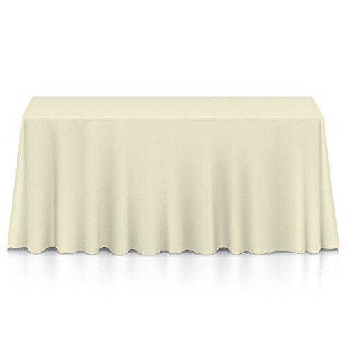 "Lann's Linens - 10 Premium 90"" x 132"" Tablecloths for Wedding/Banquet/Restaurant - Rectangular Polyester Fabric Table Cloths - Ivory"