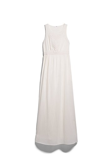 Mango Women's Long Beaded Dress, Ecru, 8