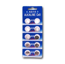 AG10 / LR55 / LR1130 Alkaline Button Cells, 1.5V, 10-Pcs Card -