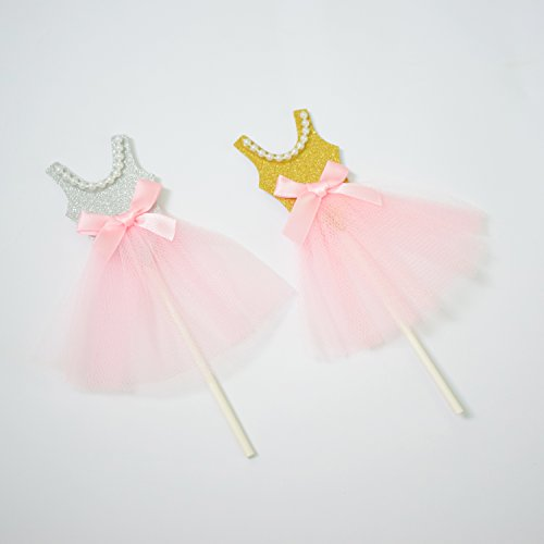 Gold Silver Glitter Princess Tutus Dress Ballerina Skirt Cake Toppers for Baby Wedding Shower Anniversary Birthday Party Cake Decoration Pack of 10 (Ballerina Princess Dress)