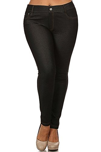 Yelete Womens Basic Five Pocket Stretch Jegging Tights Pants, Black, Large