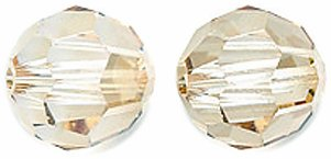 (Swarovski Faceted Round Beads, Crystal Finish, 5000, 8mm, Golden Shadow, 6-Pack)
