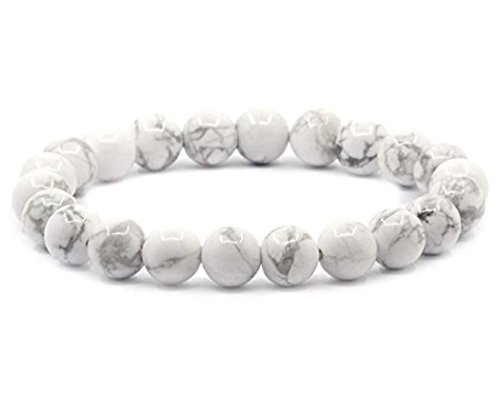 Natural White Howlite Gemstone Bracelet 7 inch Stretchy Chakra Gems Stones Healing Crystal Great Gifts (Unisex) GB8-23 ()
