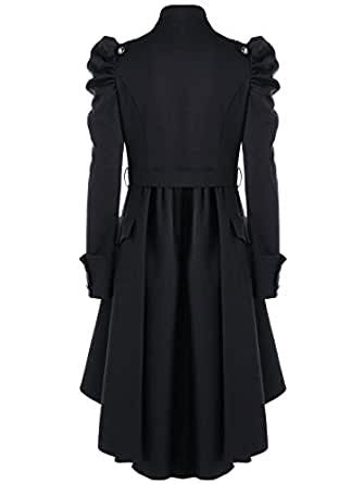 Beebeauty Gothic Vintage Womens Steampunk Victorian Swallow Tail Long Trench Coat Jacket (Small, Black)