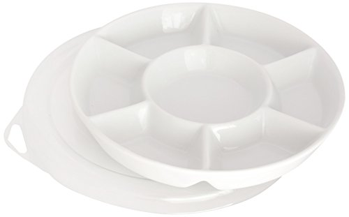 (Jack Richeson Porcelain Palette 7 Well Round with Plastic Cover)