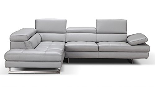 J&M Furniture Aurora Leather Left Facing Sectional Sofa in Light Grey