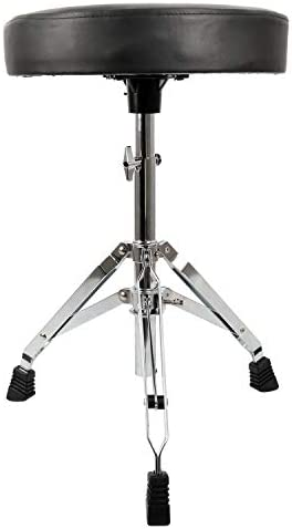 EastRock Universal Drum Throne,Padded Drum Seat Rotatable Height Adjustable drumming Stools with Anti-Slip Feet for Adults and Kids (Silver)