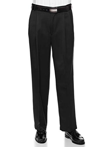 Mens Pleated Front Dress Pants - Wool Blend Long Formal Pants for Men, Made in USA Black 48 Short