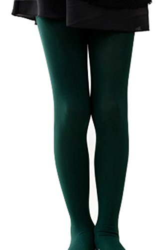 Kids Girls Footed Tight Solid Semi Opaque Pantyhose Stocking for Dancing Costume Dark Green,2XL/12-15 -