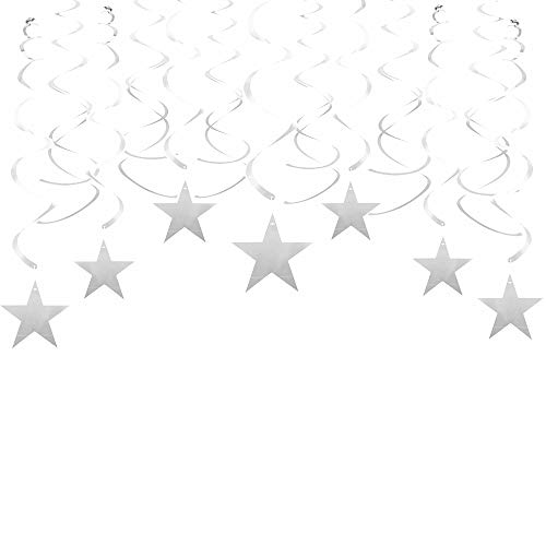 (Silver Twinkle Star Swirl Decoration Metallic Hanging Decoration Foil Garland for Wedding Favor Baby Shower Birthday Party Decoration, 30pcs)