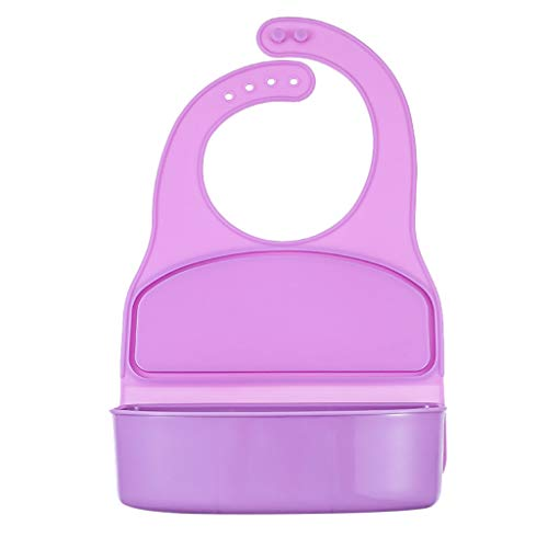 youeneom New Silicone Bibs Lunch Box from 6 Months to 6 Years Old | Bonus Feeding Spoon Included | Adjustable, Waterproof, Dishwasher Safe | Purely Organic | Food Grade Anti-fouling Silicone (Purple)