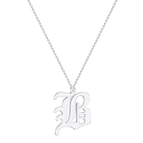 Elefezar Old English Initial Necklace Alphabet Letter Pendant Necklace Charm Gift for Women (B) - Old English Letter Alphabet