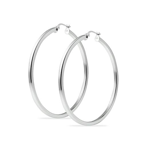 - Sterling Silver 40mm Square Tube High Polished Hoop Earrings