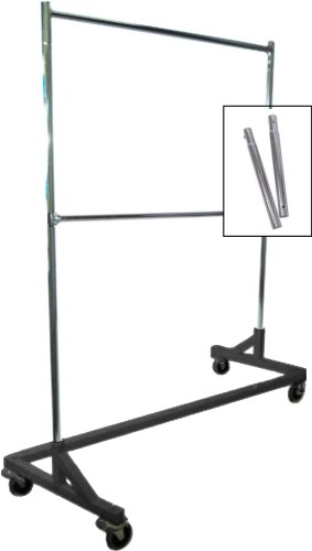Only Hangers GR600EH-1 Only Extended Height Double-Rail Rolling Z Garment Rack with Nesting Black Base