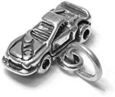 SC1275 6 Car Charms Antique Silver Tone 3D Race Car Charms