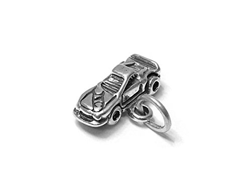 Race Car Nascar Charm Sterling Silver 10mm, Silver Car Racing Charms, 925 Sterling Silver Charms, Sports Charms, Race Car Nascar Charms - SP666