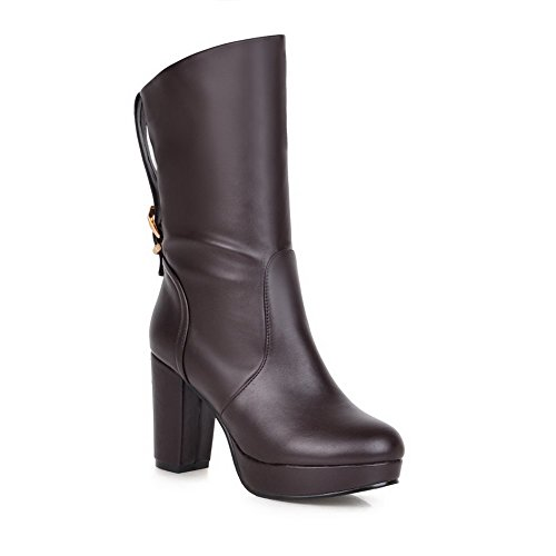 AllhqFashion Damen Hoher Absatz Blend-Materialien Mittler Kalb Rein Ziehen auf Stiefel Braun