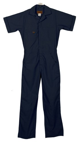 Five Rock Poplin Short Sleeve Unlined Coverall Regular Fit in Navy SM ()