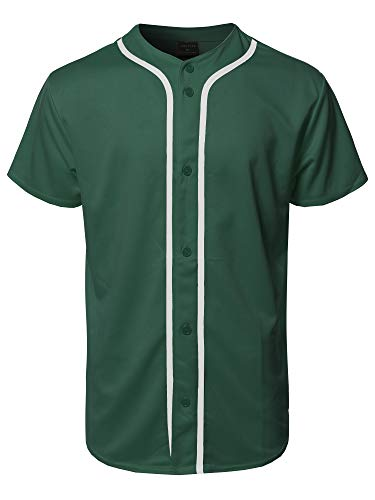 - Youstar Solid Front Button Closure Athletic Baseball Inspired Jersey Top Green M