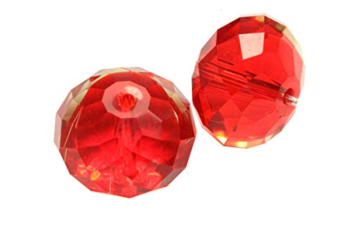 Light Siam Austrian Crystal - 24 10mm Adabele Austrian Rondelle Crystal Beads Light Siam Red Rondelle Spacer Compatible with 5040 Swarovski Crystals Preciosa SS1R-1006