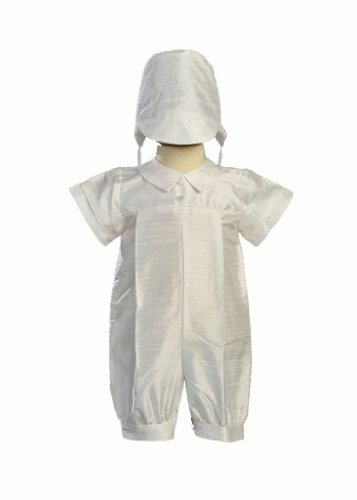 Boy's Silk Christening Baptism Romper - Size L (12-18 Month), White