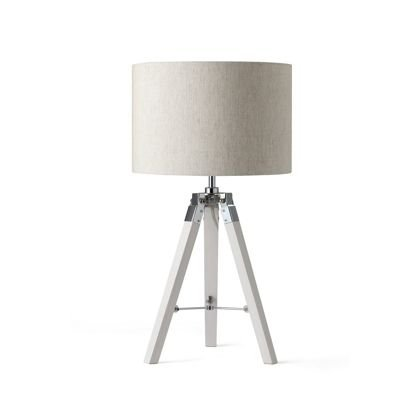 White Wood Tripod Table Lamp Has A White Wash Finish With A Seeded Oatmeal  Linen Shade